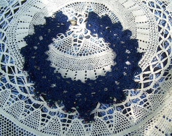 Choker Floral Crochet Necklace, Flower Jewelry Navy Blue