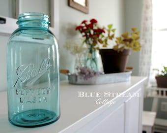 Vintage Ball Mason Jar - Blue Mason Jar - Ball 'Perfect' Mason Jar - 2 quart Blue Mason Jar - Half Gallon Mason Jar - Rustic Wedding Decor