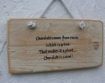 Chunky solid wood funny quote plaque