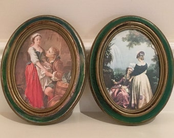 Set of 2 Vintage Framed Victorian Pictures, Made in Italy, Vintage Italian Wall Art, Shabby Chic Wall Art