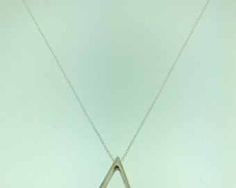 Silver Triangle Necklace with Diamond