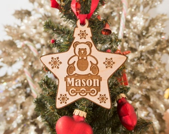 Star Ornament - Kids Christmas Ornament - Christmas Ornaments Personalized - Rustic Ornament - Child Ornament - Name Ornament - Christmas