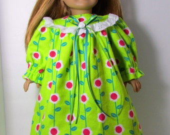 """18"""" Doll Clothes fit American Girl Old Fashioned Flannel Nightgown POSIES on LIME"""