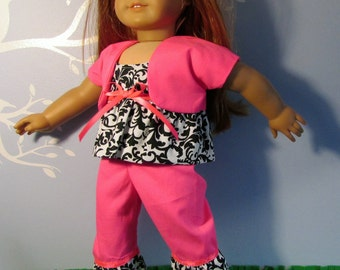 """18"""" Doll Clothes fit American Girl Capris, Camisole, Shrug Set NEON PINK"""