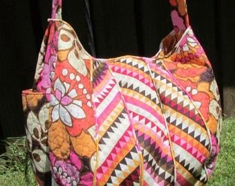 Tropical Pink and Orange Floral Print Purse Free Motion Quilted Shoulder Bag