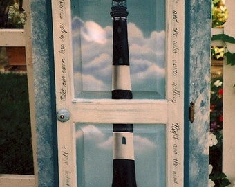 curio cabinet, storage cabinet, lighthouse cabinet, hand painted furniture, painted cabinet