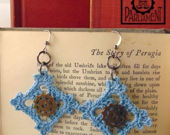 Light Blue Square Gearrings - Steampunk Crochet Lace Earrings