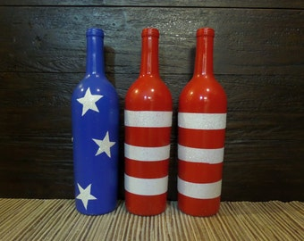 Decorated wine bottles. Fourth of July. Home decor. Table decor. Mantel decor.