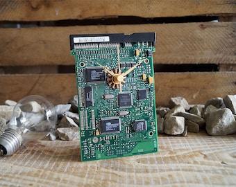 Desk Clock, Circuit Board Clock, Unique Recycled Clock, Computer Clock, Geek Clock, PC Gift, PC Clock, Silent Clock, Small Clock,Cool Design