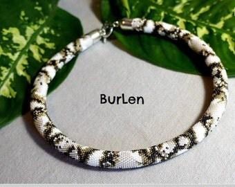 "Жгут из мелкого японского бисера ""Питон альбинос"" (Wiring of fine Japanese beads ""albino python"", handmade, beautiful gift)"