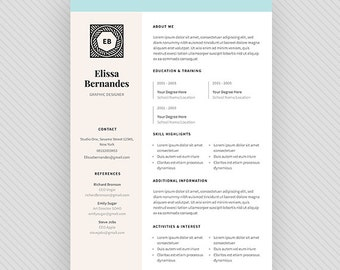 "Resume Template / CV Template + Cover Letter for MS Word and Photoshop | Instant Digital Download - ""Luna"""