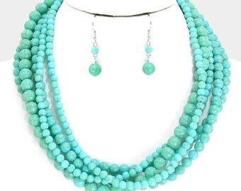 Three Strand Beaded Necklace Turquoise