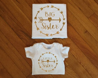 SALE! Glitter Sister Shirts, Family Matching Shirts, Big Sister, Arrows, Little Sister, Matching Family TShirt Newborn Announcement