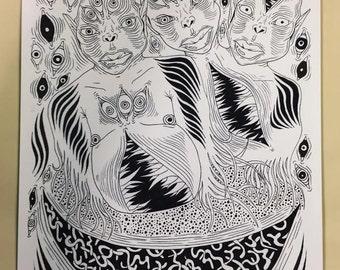 Gremlin Art Print - 3 Heads