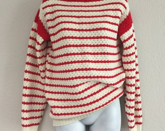 50s vintage boatneck nautical striped sweater classic christmas sweater winter preppy