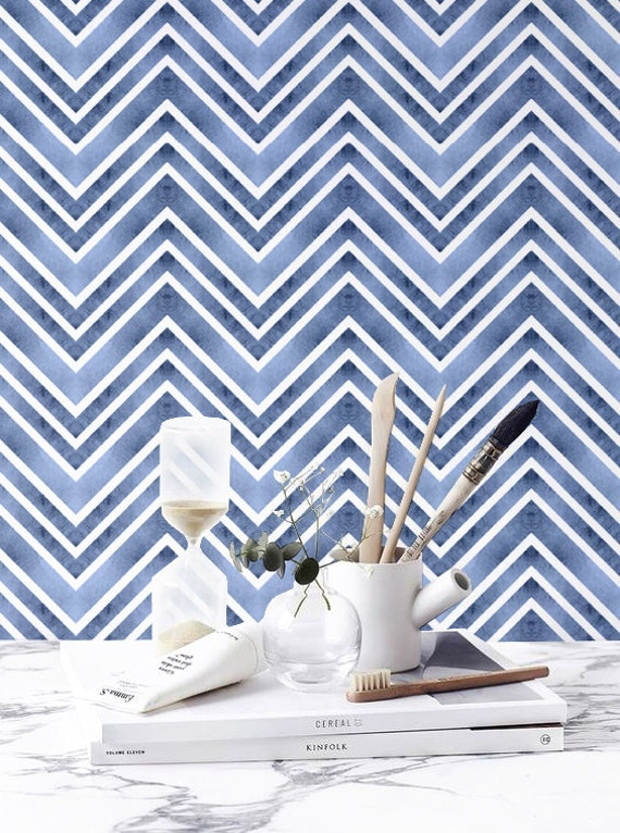Watercolor Zigzag Pattern Wallpaper Blue Watercolor Removable