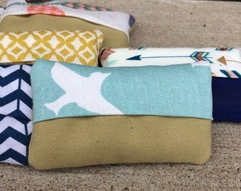 Tissue Cozy Something Blue /Canvas Bird Pocket Tissue Case /Reusable Tissue Holder