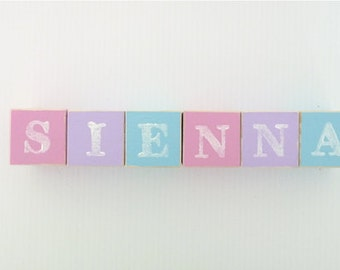 Baby Name Blocks - Personalised Wooden Letter Blocks - Nursery Decor - Pink, Mauve and Ice Blue