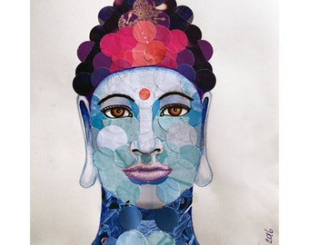 Buddha - drawing/collage (recycled paper) - 29.7 x 21cm