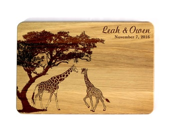 Cutting board Wedding gift Wedding giraffes Bridal Shower Gift Wedding Cutting Board Custom cutting board Gift for couple Engraved gift
