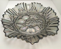 Vintage Federal Glass embossed fruit pattern Pioneer smoke irridescent ruffled carnival bowl