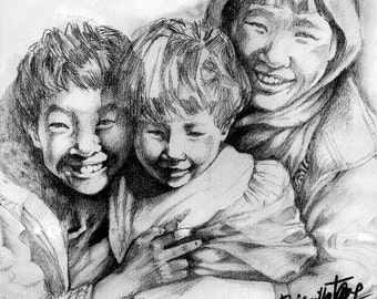 "Pencil Portraiture ""Happy Children"""