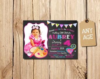ART PARTY INVITATION, Art Birthday Party Invitation, Art Birthday Invitation, Printable , Paints, Brush, Chalkboard, with Photo