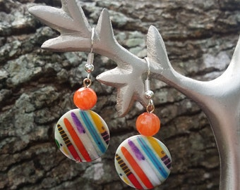 Colorful Striped Coin Earrings