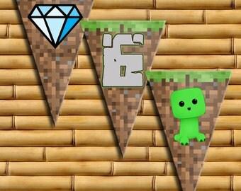 Minecraft inspired Banner - Printable Minecraft Happy Birthday Banner - Minecraft Birthday Party - Instant Download