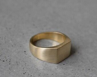 18 k gold signet pinky ring,18k gold Quad seal ring,18k gold signet solid ring,18k gold pinky ring