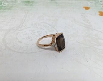 14k rose gold Smoky Quartz ring with dainty diamonds