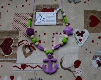 Nursing Necklace Ancora Lilla Teether Babywearing Crochet Silicone