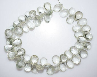 """Natural Green Amethyst Faceted Pear Shape Beads -Green Amethyst Pear Shape Briolette , 9.5x7 - 13.5x8 mm , 7.5"""" , BL938"""