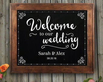 "Printable Rustic Chalkboard Welcome to our Wedding Signs - Black, 2 sizes: 10""x8"" and 14""x11"", Editable PDF, Instant Download"