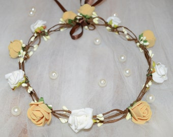 Mustard Flower Crown, Mustard Flower Headband, Christmas gift, Ivory Flower Wreath,  Rose Crown, Gift for her, Headband for Women, Gift Idea