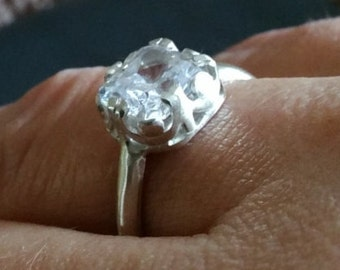 Solitaire CZ in sterling Silver ring  size 7