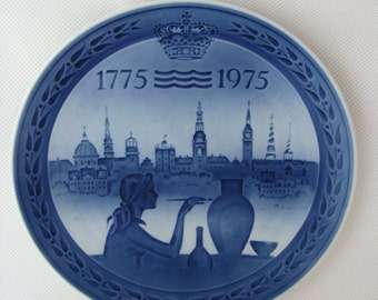 Decorative PLATE Royal Copenhagen PORCELAIN Ars Jubileum 1775 - 1975 wall hanging plate collector Denmark blue and white porcelain