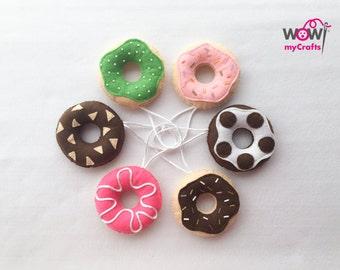 Felt donut ornaments. Felt play food hand made.