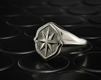 Rose of wind signet ring, Silver signet ring, Unique silver ring, Wide silver ring, Nature signet ring, Silver ring for him, 925 Silver