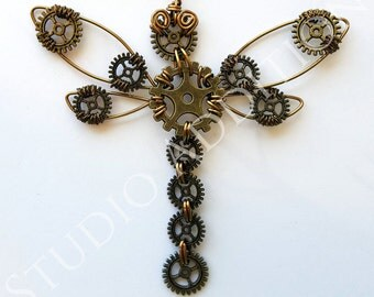 Steampunk Dragonfly Necklace, Dragonfly Pendant, Gear Dragonfly, Antique Brass Tone, Wire Work Jewelry