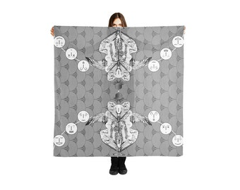 Lightweight Shawl, Kabbalah Symbols Print Scarves, Oversized Blanket Scarf, psychedelic Patterned Scarf, Black and white Fashion Accessories
