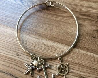 Anchor, Ship Wheel and Pearl Bangle Bracelet
