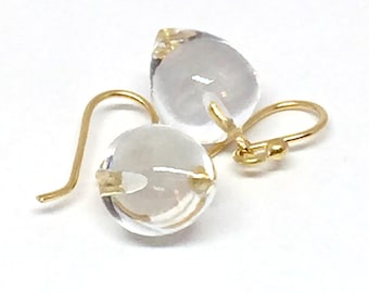 Rock Crystal Acorn Earrings Crystal Quartz Earrings Quartz 18k Acorn Earrings Rock Crystal Earrings April Birthstone Womens Gift for Wife