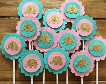 Pink and Teal Elephant Cupcake Toppers, Elephant Cake Topper, It's a Girl, elephant decoration, elephant baby shower, girl baby shower