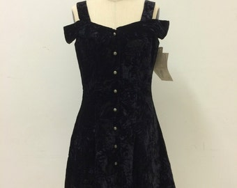 1990s NWT Off Shoulder Crushed Velvet Button Front Dress | Grunge | Size 6 Small | Bare Shoulders | NOS | Dead stock