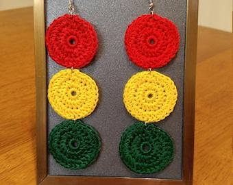 One Luv Circular Crocheted Earrings