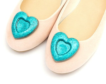 Blue glittery hearts - shoe clips Manuu