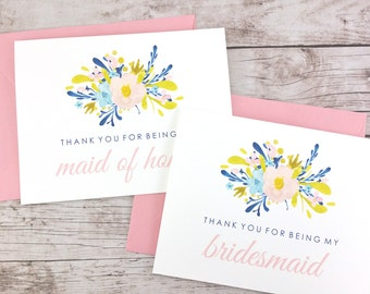 SET OF Thank You For Being My Bridesmaid Cards, Maid of Honor Cards, Flower Girl Cards, Matron of Honor Cards - (FPS0018)