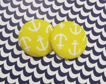 Large Anchor Button Earrings
