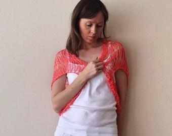 SALE! Knit Shrug Bolero / Orange Coral Loose Bolero Shrug /Summer Shrug / Ready To Ship